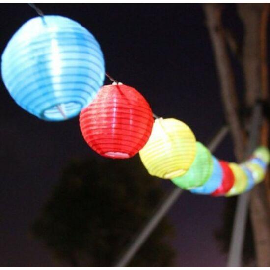 Party lampion szett (10LED, 10 darab gömb, elemes)