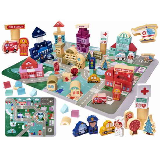 100 részes városépítő, oktató gyermek játszószőnyeg