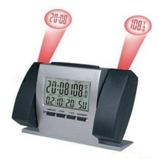 Dupla kivetítős asztali óra ébresztés és hőmérő funkcióval