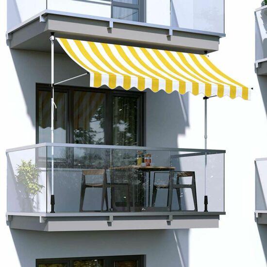 Feltekerhető napellenző, sárga csíkos (250x120 cm)