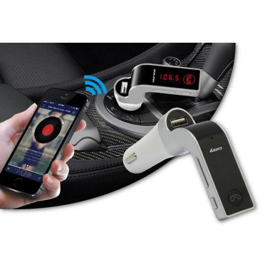 Szivargyújtós 4 az 1-ben Bluetooth FM transzmitter (ezüst színben)