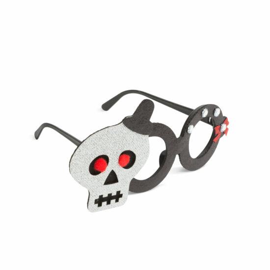 Halloween-i party szemüveg (csillogó koponya)