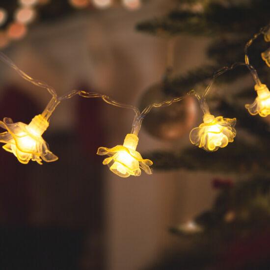 LED fényfüzér, virág (2,3 m, 20 LED, melegfehér, 3 x AA)