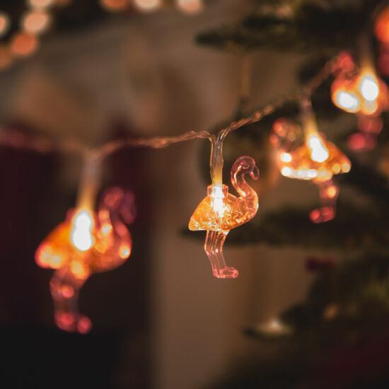 LED fényfüzér, flamingó (1,1 m, 10 LED, melegfehér, 3 x AA)