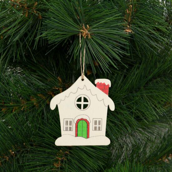 Karácsonyfadísz, házikó (akasztható, 9,4 x 10 cm)