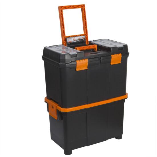 Húzható, többrészes műanyag szerszámláda (18'' - 460 x 260 x 625 mm)
