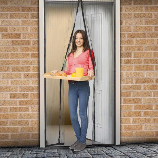 Szúnyogháló függöny ajtóra (mágneses, 100 x 210 cm, fekete)