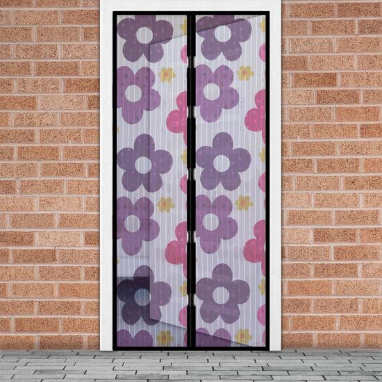 Mágneses szúnyogháló függöny ajtóra (100 x 210 cm, színes virágos