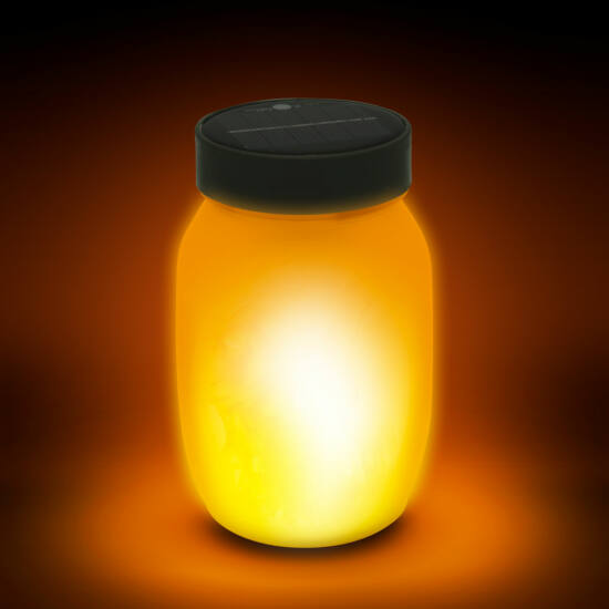 Lángokat imitáló, napelemes LED lámpa (fekete)