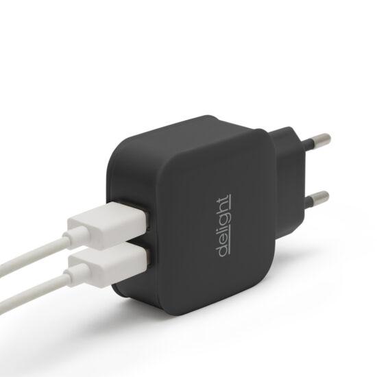 USB Hálózati adapter (2xUSB, fekete)