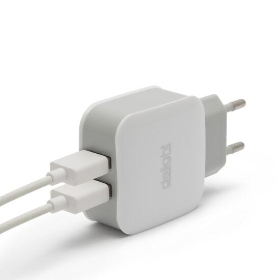 USB Hálózati adapter (2xUSB, fehér)