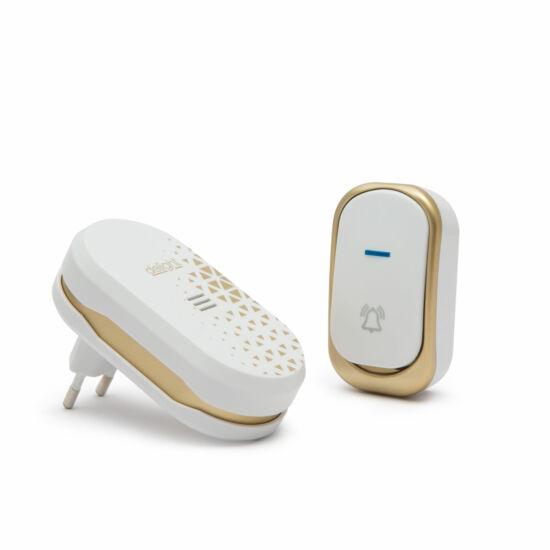 Vezeték nélküli csengő (elemes kültéri, 230V beltéri egység, design-os, fehér)