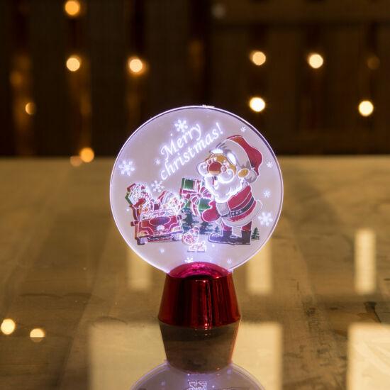 Karácsonyi asztali LED dekor fényes talppal mikulás (11 cm)