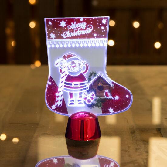 Karácsonyi asztali LED dekor fényes talppal csizma (15 cm)