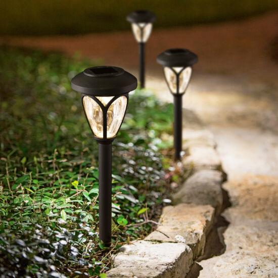 LED-es szolár lámpa (leszúrható, mintás plexivel, fekete, 400 mm)