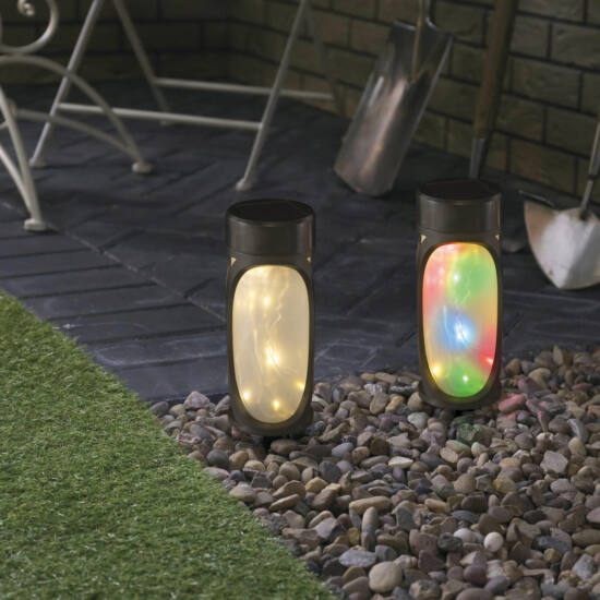LED-es napelemes lámpa (MicroLED, melegfehér + RGB, fekete, 280 mm)