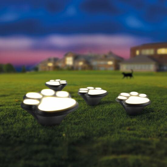 LED-es napelemes lámpa (kutya lábnyom, leszúrható, műanyag, fekete, 360 cm)