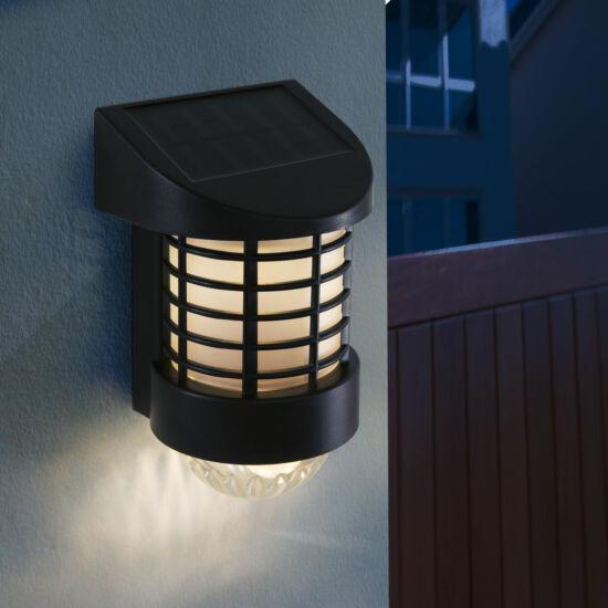 LED-es napelemes fali lámpa (melegfehér, fekete, műanyag)