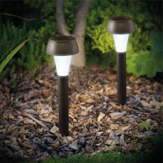 LED-es napelemes lámpa (hidegfehér, fekete, műanyag)