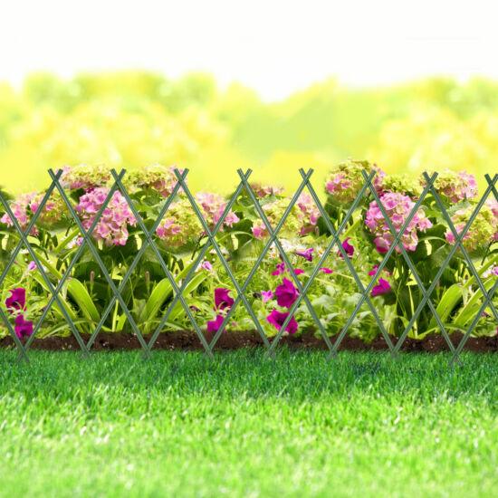 Virágágyás szegély / kerítés (kihúzható, 150 x 50 cm, zöld)
