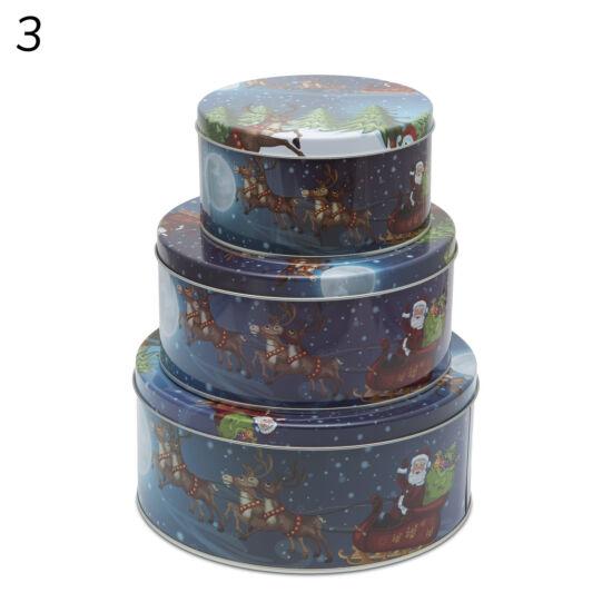 Süteménydoboz szett 4 féle (kék mikulás, 3 darabos csomag)