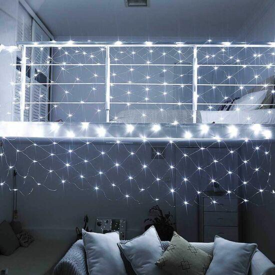 128 LED-es hálós fényfüzér (hidegfehér)