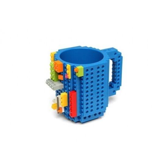 Építőkockás bögre ajándék építőelemekkel (Kék)