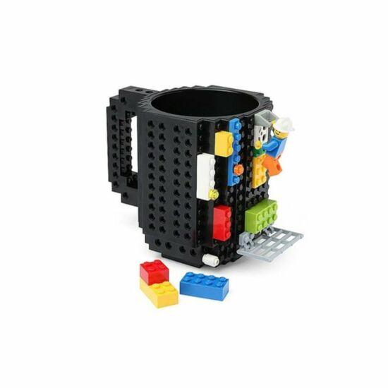 Építőkockás bögre ajándék építőelemekkel (Fekete)
