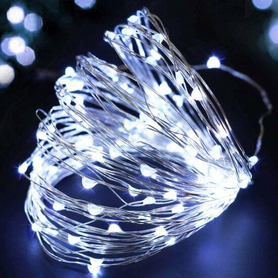 10 méteres Micro LED-es elemes fényfűzér (Hideg fehér)