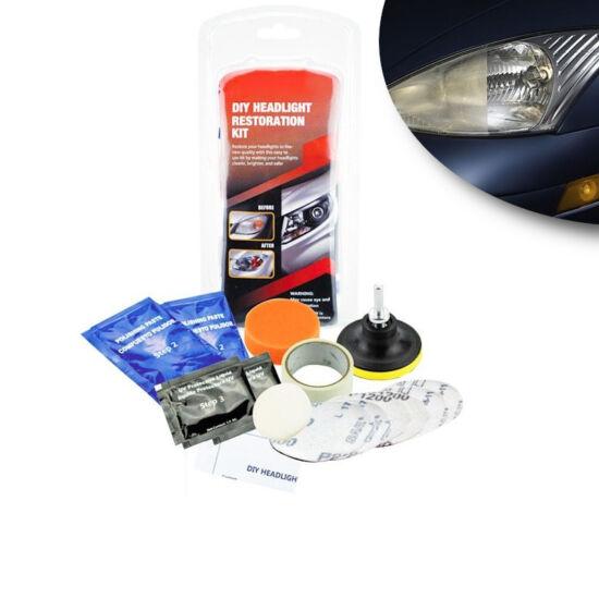 Autós fényszóró javító készlet polírozó fejekkel és pasztával