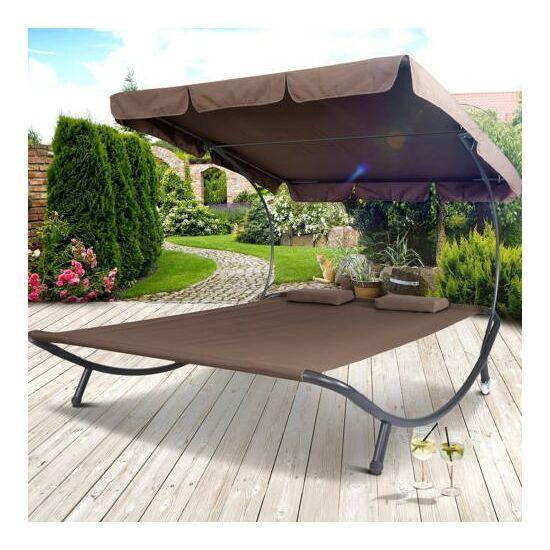 Napozó ágy napernyővel (sötét barna)