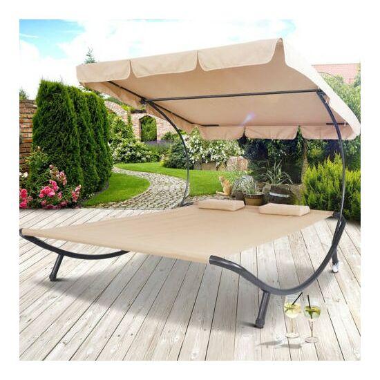 Napozó ágy napernyővel (világos barna)