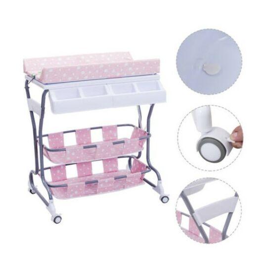 2 az 1-ben baba fürdető és pelenkázó állvány tárolókkal (rózsaszín - pöttyös, nyuszis)