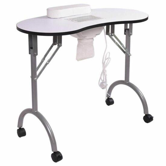 Mobil manikűr asztal porelszívóval, hordtáskával (fehér)