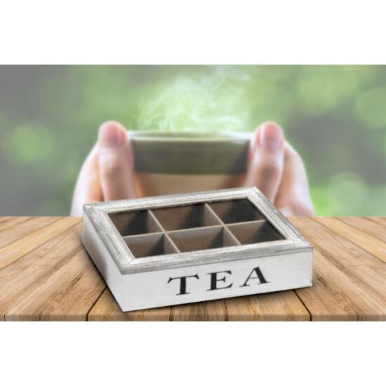 Vintage hatású 6 részes fa teafilter tartó doboz (fehér)