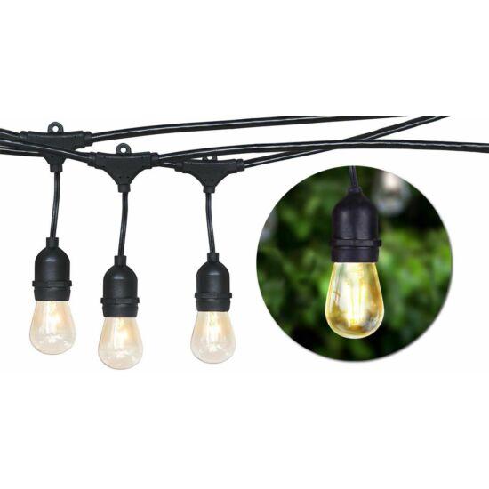 Vízálló dekor égősor 15 db E27 LED lámpával (14,6 m, melegfehér)